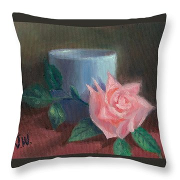 Throw Pillow featuring the painting Rose With Blue Cup by Joe Winkler