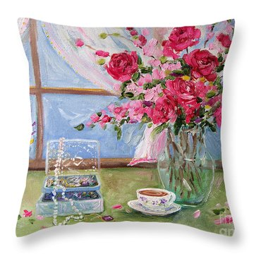 Roses And Pearls Throw Pillow by Jennifer Beaudet