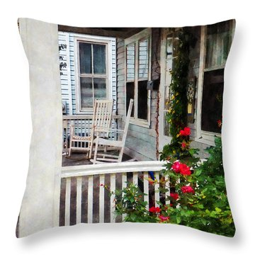 Roses And Rocking Chairs Throw Pillow by Susan Savad