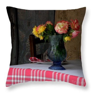 Roses In Blue Glass Vase Throw Pillow by Lainie Wrightson