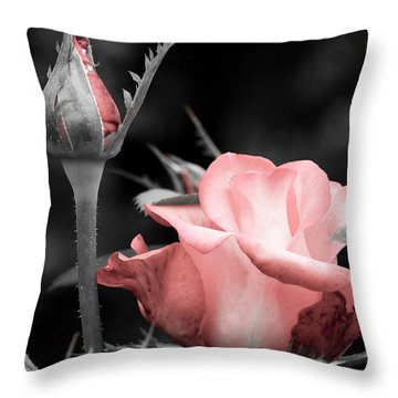 Roses In Pink And Gray Throw Pillow by Michelle Joseph-Long