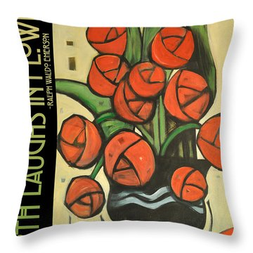 Roses In Vase Poster Throw Pillow by Tim Nyberg