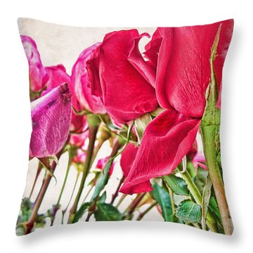 Roses In White Throw Pillow by Joan  Minchak