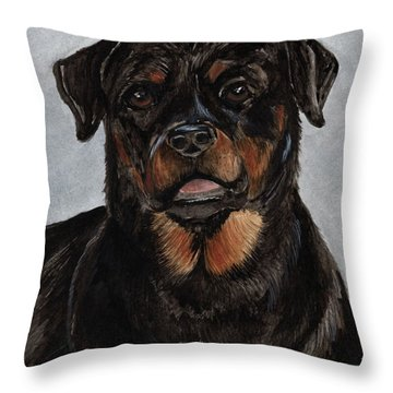 Throw Pillow featuring the painting Rottweiler  by Nancy Patterson