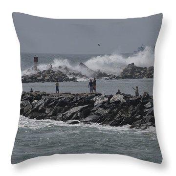 Rough Seas To Block Island Throw Pillow