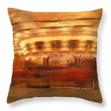 Round And Round Goes The Dentzel Carousel At Glen Echo Park Md Throw Pillow