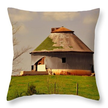 Round Barn Throw Pillow by Marty Koch