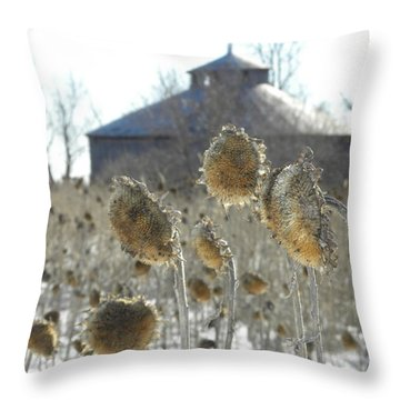 Round Barn With Sunflowers Throw Pillow