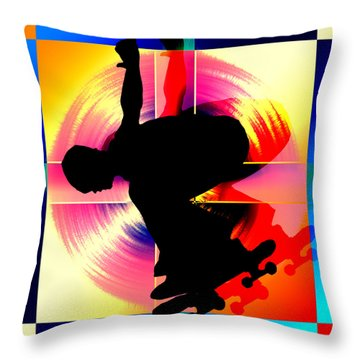 Round Peg In Square Hole Skateboarder Throw Pillow by Elaine Plesser