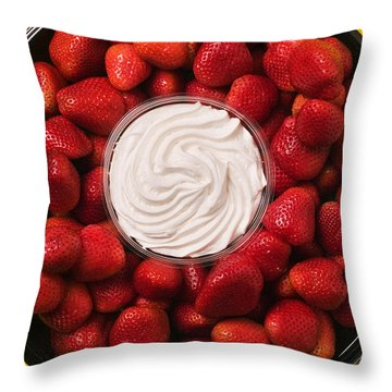 Round Tray Of Strawberries  Throw Pillow by Garry Gay