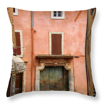 Roussillon Painted Door Throw Pillow by Carla Parris