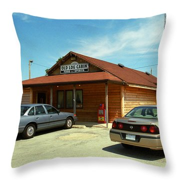 Route 66 - Old Log Cabin Throw Pillow by Frank Romeo