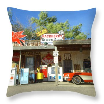 Route 66 Hackberry Arizona Throw Pillow by Bob Christopher