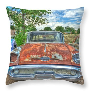 Route 66 Oldsmobile Throw Pillow by John Kelly