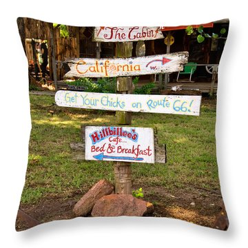 Route 66 Signs Throw Pillow by Betty LaRue