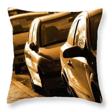 Row Of Cars Throw Pillow by Carlos Caetano