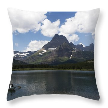 Rowboat At Many Glacier Throw Pillow