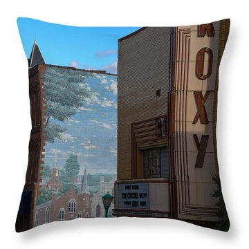 Roxy Theater And Mural Throw Pillow