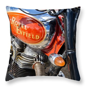 Royal Enfield Bullet 500es Throw Pillow by Roger Mullenhour