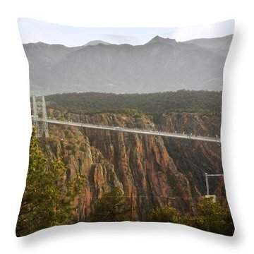 Royal Gorge Bridge Colorado - The World's Highest Suspension Bridge Throw Pillow by Christine Till