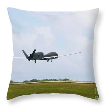 Rq-4 Global Hawks First Flight Throw Pillow by Photo Researchers