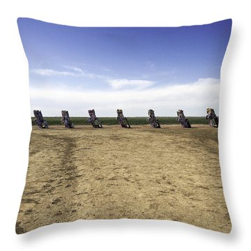 Throw Pillow featuring the photograph Rt 66 Cadillac Ranch  by Paul Plaine