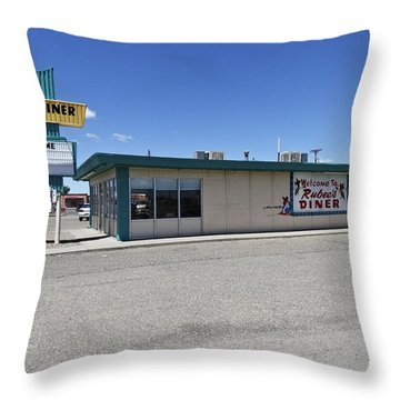 Throw Pillow featuring the photograph Rt 66 Rubee's Diner by Paul Plaine