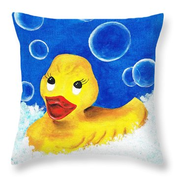 Throw Pillow featuring the painting Rubber Ducky by Sarah Farren
