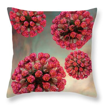 Rubella Virus Particles Throw Pillow by Russell Kightley