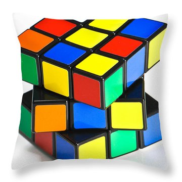 Rubiks Cube Throw Pillow by Photo Researchers