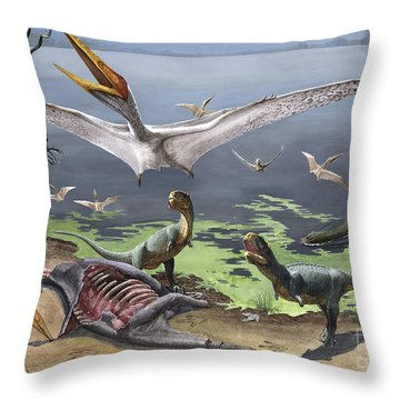 Rugops Primus Dinosaurs And Alanqa Throw Pillow by Sergey Krasovskiy