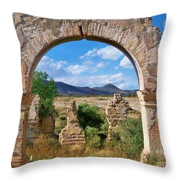 Throw Pillow featuring the photograph Ruins Of Mineral De Pozos by John  Kolenberg