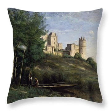 Ruins Of The Chateau De Pierrefonds Throw Pillow by Jean Baptiste Camille Corot