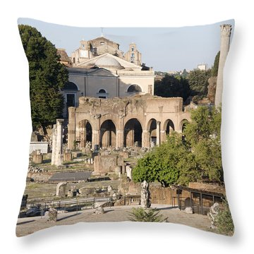 Ruins. Roman Forum Throw Pillow by Bernard Jaubert