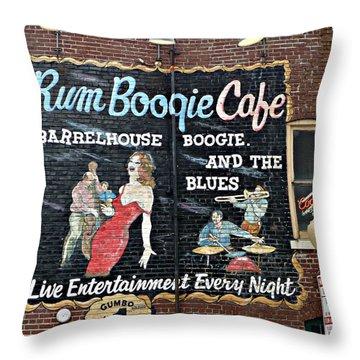 Rum Boogie Cafe Throw Pillow by Jo Sheehan