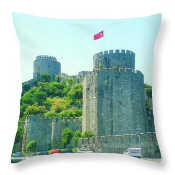 Throw Pillow featuring the painting Rumeli Hisar by Lou Ann Bagnall
