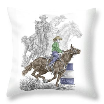 Throw Pillow featuring the drawing Running The Cloverleaf - Barrel Racing Print Color Tinted by Kelli Swan