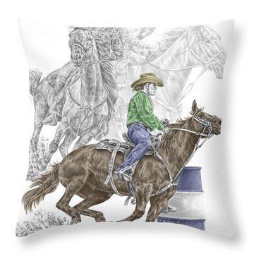 Running The Cloverleaf - Barrel Racing Print Color Tinted Throw Pillow