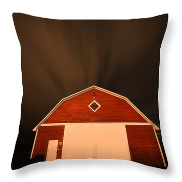 Rural Barn Night Photograhy Throw Pillow by Mark Duffy
