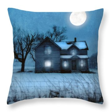 Rural Farmhouse Under Full Moon Throw Pillow by Jill Battaglia