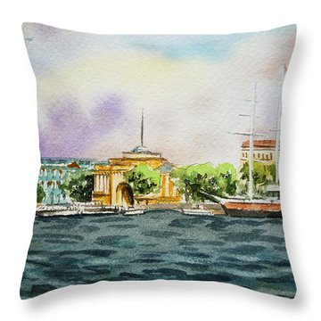 Russia Saint Petersburg Neva River Throw Pillow