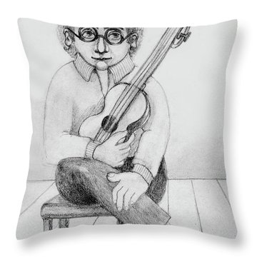 Russian Guitarist Black And White Art Eyeglasses Long Curly Hair Tie Chin Shirt Trousers Shoes Chair Throw Pillow by Rachel Hershkovitz
