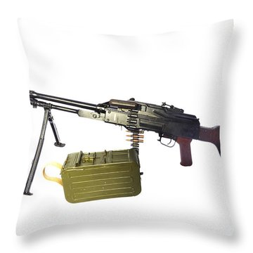 Russian Pkm General-purpose Machine Gun Throw Pillow by Andrew Chittock