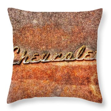 Rusted Antique Chevrolet Logo Throw Pillow by Dan Stone