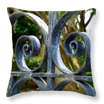 Rusted Charleston Ironwork Throw Pillow by Debbie Karnes