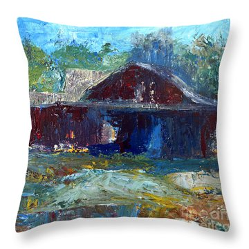 Rustic Barn Throw Pillow by Claire Bull
