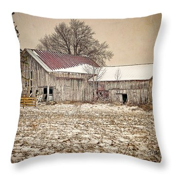 Throw Pillow featuring the photograph Rustic Barn by Mary Timman