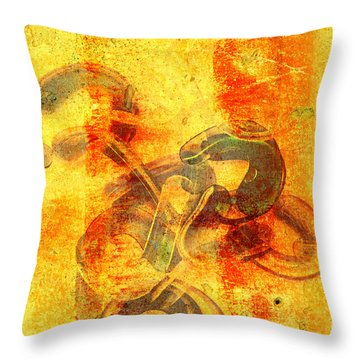 Rustic Gold Throw Pillow by Andee Design
