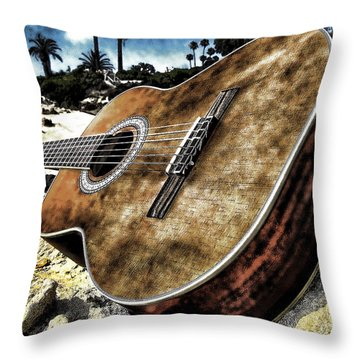 Rustic Guitar Throw Pillow