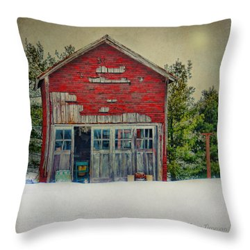 Rustic Shed Throw Pillow by Mary Timman
